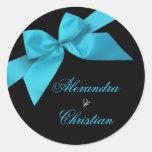Turquoise Ribbon Wedding Announcement RSVP Round Sticker