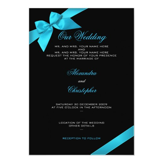 Turquoise Ribbon Wedding Invitation Announcement 2