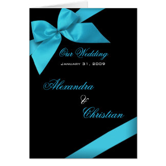 Turquoise Ribbon Wedding Invitation Announcement Greeting Card
