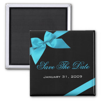 Turquoise Ribbon Wedding Invitation Save The Date Square Magnet