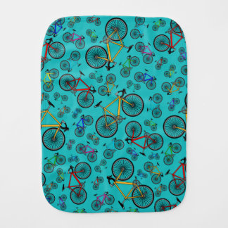 Turquoise road bikes burp cloth