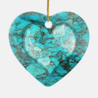 Turquoise Rock Heart Christmas Ornament