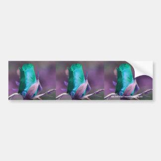 Turquoise Rosebud Flower Bumper Sticker Car Art