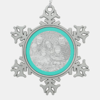 Turquoise Round Border Pewter Snowflake Decoration