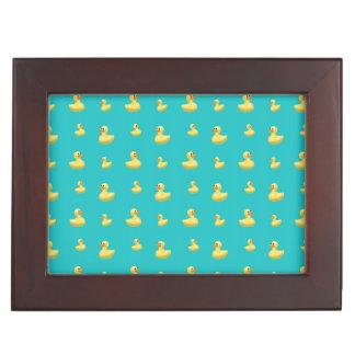 Turquoise rubber duck pattern keepsake boxes