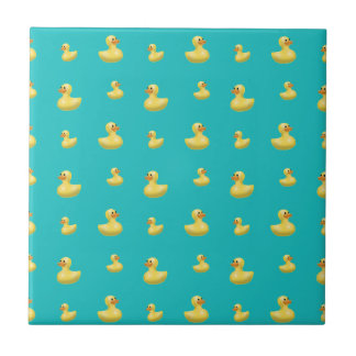 Turquoise rubber duck pattern small square tile