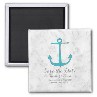 Turquoise Rustic Anchor Save the Date Magnet