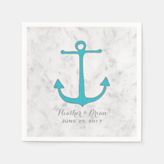 Turquoise Rustic Anchor Wedding Disposable Serviettes
