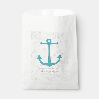 Turquoise Rustic Anchor Wedding Favour Bags