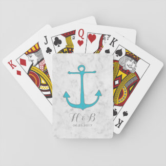 Turquoise Rustic Anchor Wedding Playing Cards
