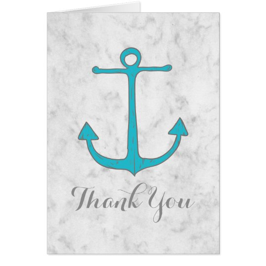 Turquoise Rustic Anchor Wedding Thank You Card