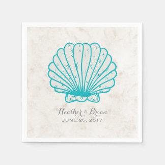 Turquoise Rustic Seashell Wedding Disposable Serviettes