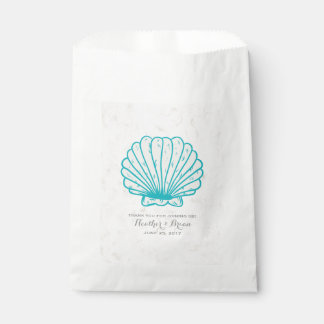 Turquoise Rustic Seashell Wedding Favour Bags