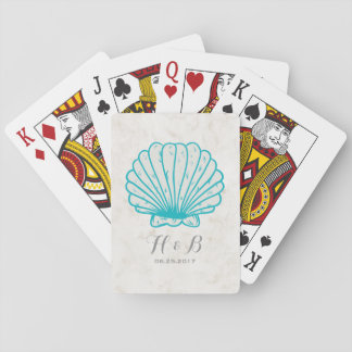 Turquoise Rustic Seashell Wedding Playing Cards