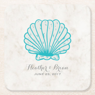 Turquoise Rustic Seashell Wedding Square Paper Coaster
