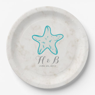 Turquoise Rustic Starfish Wedding Paper Plate