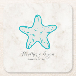 Turquoise Rustic Starfish Wedding Square Paper Coaster