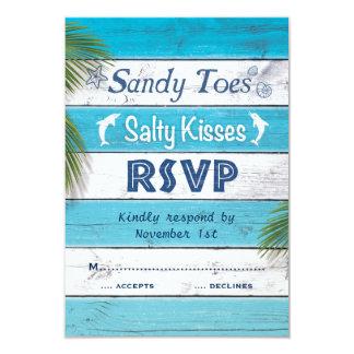 Turquoise Sandy Toes Salty Kisses RSVP 9 Cm X 13 Cm Invitation Card