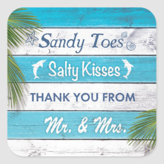 Turquoise Sandy Toes Salty Kisses Thank You Square Sticker