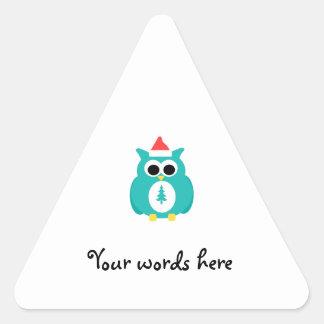 Turquoise santa owl triangle sticker