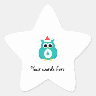 Turquoise santa owl star stickers