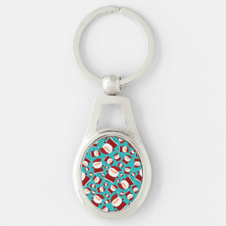 Turquoise santa pattern key chains