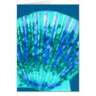 Turquoise scallop sea shell, note card