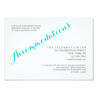 Turquoise Script Accommodations Enclosure Card 9 Cm X 13 Cm Invitation Card