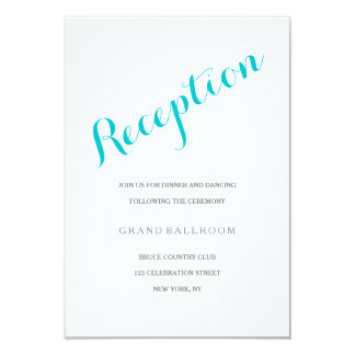 Turquoise Script Reception Enclosure Card 9 Cm X 13 Cm Invitation Card
