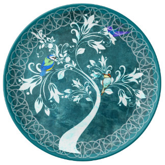 Turquoise Script Tree and Birds Decorative Plate