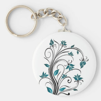 Turquoise Scrolling Vines Basic Round Button Key Ring