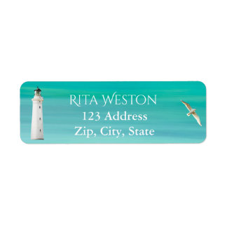 Turquoise sea and lighthouse address return label