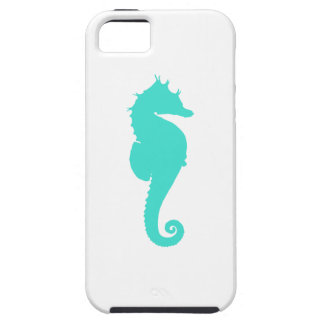 Turquoise Sea Horse on White Case For The iPhone 5