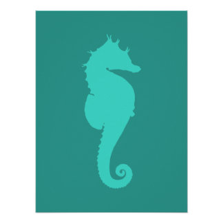 Turquoise Sea Horse Poster
