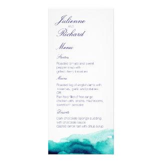 Turquoise Sea Teal Watercolor Wedding Menu