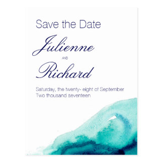 Turquoise sea watercolor save the date postcard