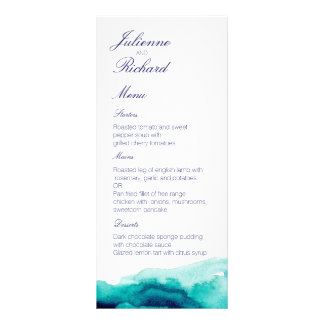 Turquoise Sea   Watercolor Wedding Menu