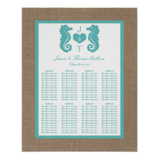 Turquoise Seahors Burlap Beach Wedding Collection Poster