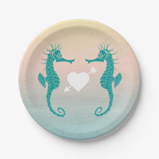 Turquoise Seahorse Blue Peach Beach Wedding Love Paper Plate