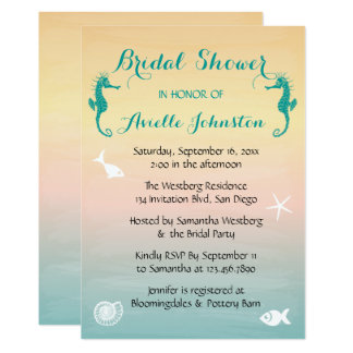 Turquoise Seahorse Blue Pink Sunset Bridal Shower Card