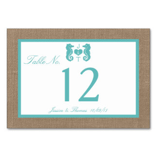 Turquoise Seahorse Burlap Beach Wedding Collection Card