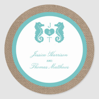 Turquoise Seahorse Burlap Beach Wedding Collection Classic Round Sticker