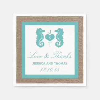 Turquoise Seahorse Burlap Beach Wedding Collection Paper Napkins
