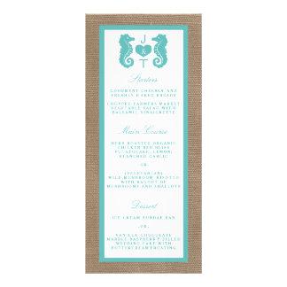 Turquoise Seahorse Burlap Beach Wedding Collection Rack Card