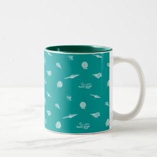 Turquoise Seashell Pattern Two-Tone Coffee Mug