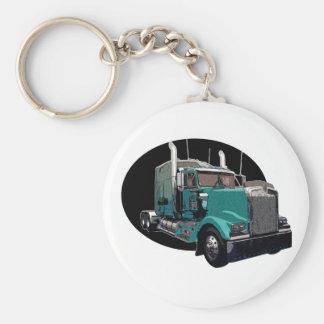 Turquoise Semi Truck Basic Round Button Key Ring