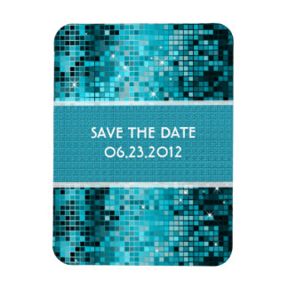 Turquoise Sequins Look Disco Mirrors Bling Magnet