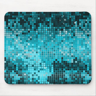 Turquoise Sequins Look Disco Mirrors Bling Mouse Mat