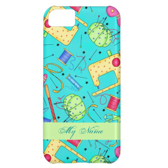 Turquoise Sewing Art Personalised iPhone 5 Case