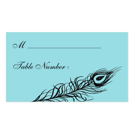 Turquoise Shake your Tail Feathers Place Card Business Cards